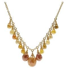 Briolette Diamond Bead 18K Gold Necklace