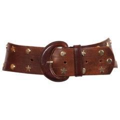 brown leather wide belt with star and circular gilt studs, 1980s