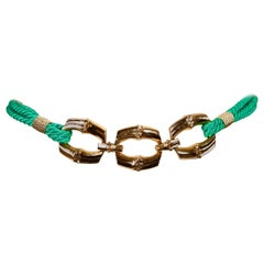 1980's SAINT LAURENT green woven cord belt with gilt bamboo buckle