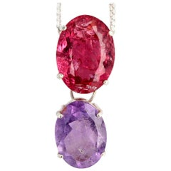 Gemjunky Candy Color 8Cts Red Tourmaline & 5Cts Purple Tourmaline Silver Pendant