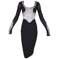 F/W 2004 Dolce & Gabbana Sheer Black Silk Mesh Lace Wiggle Dress