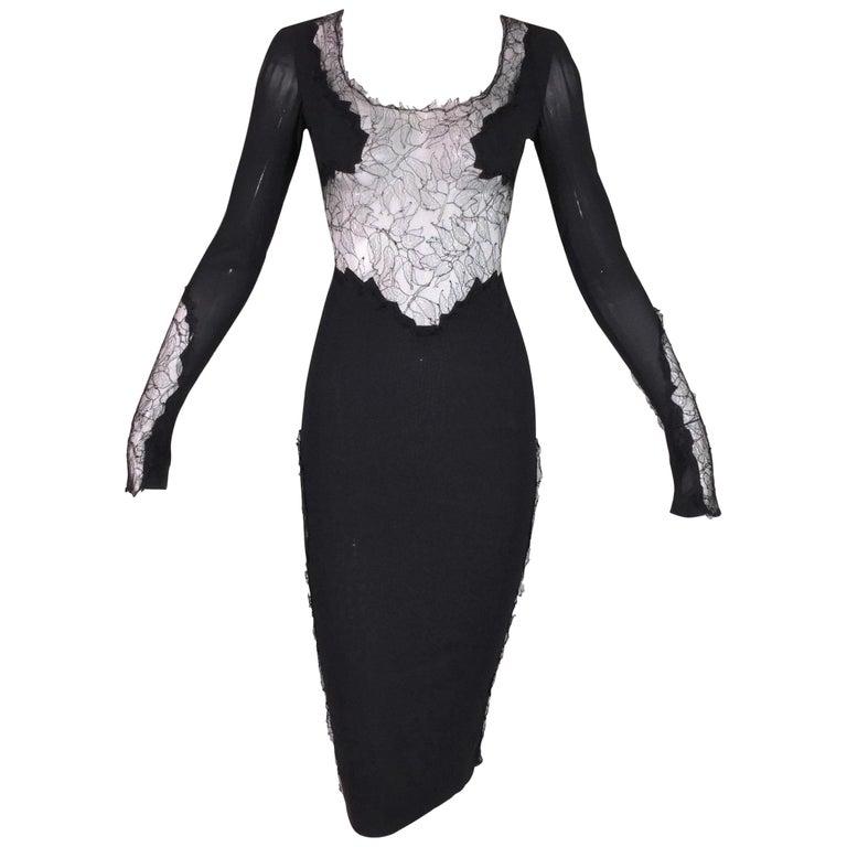 F/W 2004 Dolce & Gabbana Sheer Black Silk Mesh Lace Wiggle Dress