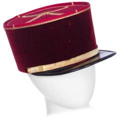Antique Velvet French Military Hat