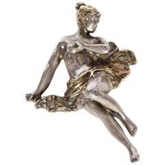 Rachel Gera Silver Victorian Nude Woman Pendant Pin