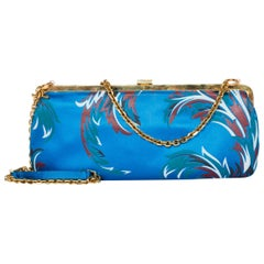 1990s Gianni Versace Baroque Satin Clutch With Gold Chain Strap Crystals