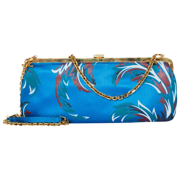 1990s Gianni Versace Baroque Satin Clutch with Gold Chain Strap & Crystals