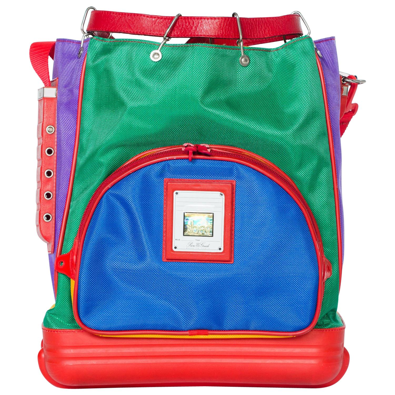 Color Blocked 1990s Italian Raver Sbag Backpack