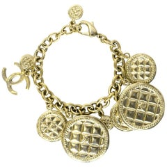 Chanel 2015 Light Goldtone Quilted Disc & CC Charm Bracelet with Box