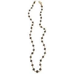 Faceted Black Diamond 18K Gold Necklace By Christopher Phelan