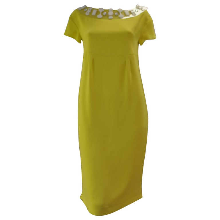 Schumacher Canary Yellow Dress with Detachable Embellished  Collar  For Sale