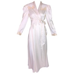 Christian Dior Ivory Satin 1940s Style Old Hollywood Robe Dress, 1970s
