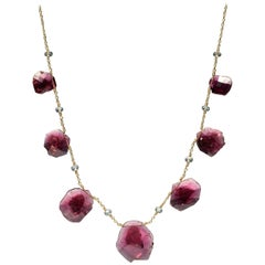 Pink Tourmaline Slice 18K Gold Necklace by Christopher Phelan