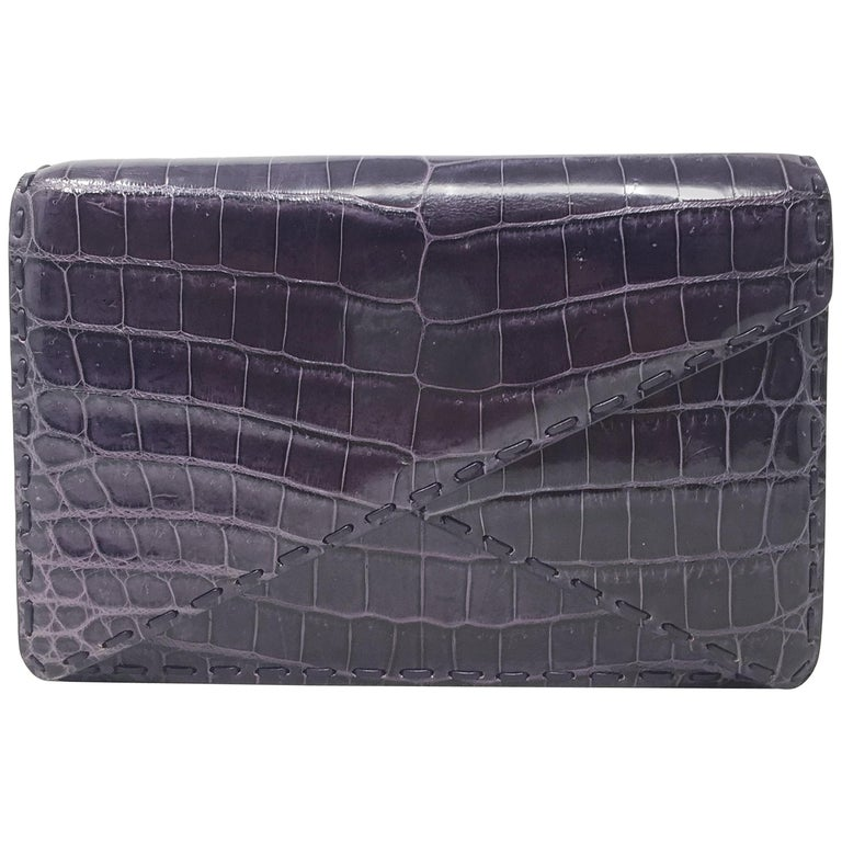 Bottega Veneta Crocodile Purple Leather BV Clutch