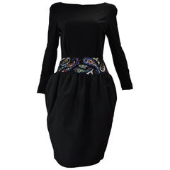 1980s Victor Costa Black Cocktail Dress w/ Jeweled Waist M