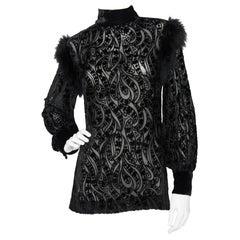A 1970s Yves Saint Laurent Rive Gauche Burnt Silk Velvet Blouse