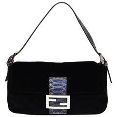 Fendi Black Velvet & Crystal Logo Buckle Baguette Bag