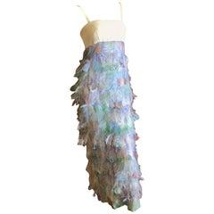 Cardinali Printed Feather Silk Empire Dress