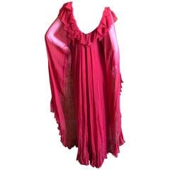 Cardinali 1975 Red Ruffle Silk Chiffon Evening Dress with Cape Back