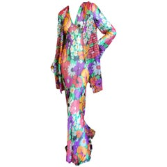 Cardinali Ruffle Silk Chiffon Floral Evening Dress with Matching Jacket, 1974