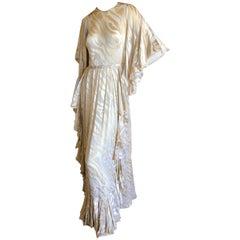 Cardinali 1970's Ruffle Devore Silk Chiffon Evening Dress with Capelet Shawl