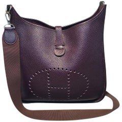 Hermes Raisin Purple Evelyne GM III Clemence Leather Shoulder Bag