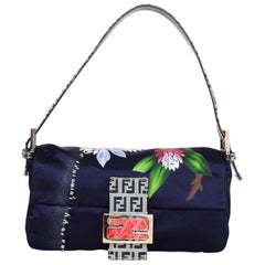 Fendi Navy Satin Floral Baguette Bag with Dust Bag