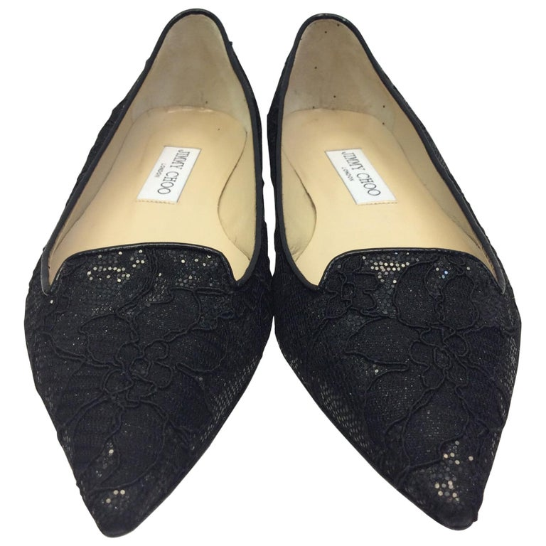 Jimmy Choo Black Lace Flat For Sale