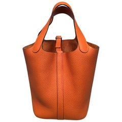 Hermes Orange Clemence Leather Picotin PM Handbag