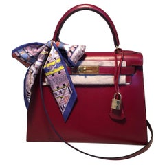 Hermes Vintage Rouge Box Calf 28cm Kelly Bag with Strap