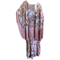 Cardinali Ruffle Silk Hippie Print Fringed Evening Dress Ensemble, 1970s