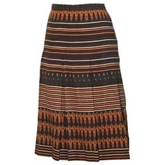 Gucci Vintage Equestrian Rider Brown Orange Cream Stripe Print Pleat Skirt, 1970