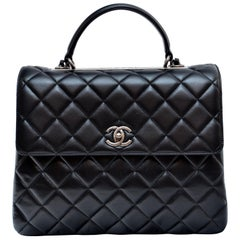 Chanel Black Large Trendy CC Classic Handle Shoulder Flap Tote Bag