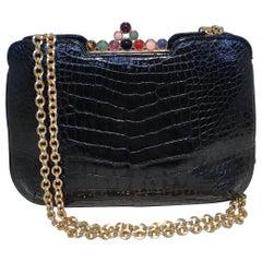 Judith Leiber Vintage Black Alligator Gemstone Detail Shoulder Bag