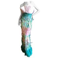 Cardinali Strapless Printed Feather Silk Evening Dress