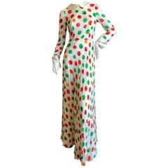 Cardinali Shamrock Pattern Polka Dot Silk Evening Dress, 1970s