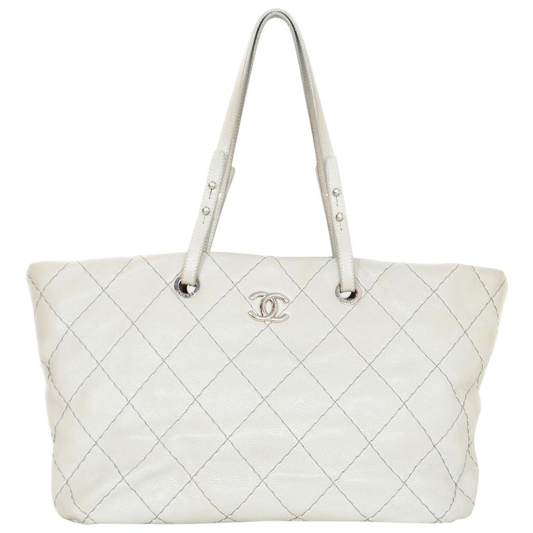 Chanel Off-White Glazed Calfskin Large On The Road Tote Bag