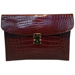 Colombo Vintage Tan Crocodile Portfolio Clutch