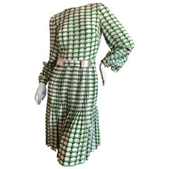 Cardinali Green Poet Sleeve Pleated Kick Skirt Day Dress with Disco Ball Belt