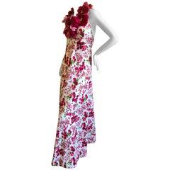 Cardinali Silk Floral Violette Flower Neckline Halter Evening Dress, 1973