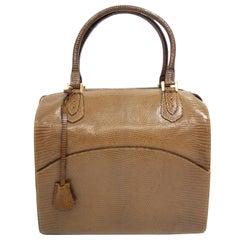 Martin Van Schaak Custom Brown Java Lizard Skin Handbag Box Bag, 1960s