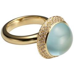 Large Aquamarine Cabochon Pave Diamond 18K Gold Ring By Christopher Phelan