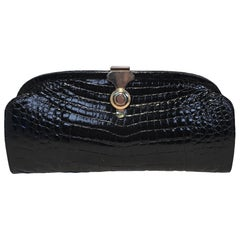 Vero Black Crocodile Vintage Italian Clutch