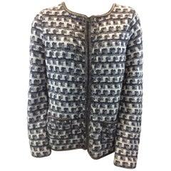 Oscar de la Renta Grey Plaid Zip Jacket