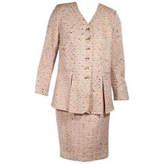 Multicolor Chanel Tweed Skirt Suit Set