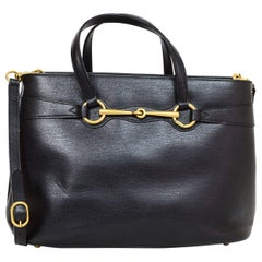 Gucci Black Medium Bright Bit Leather Satchel Bag with Dust Bag