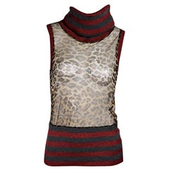 Multicolor D&G Sleeveless Turtleneck Top