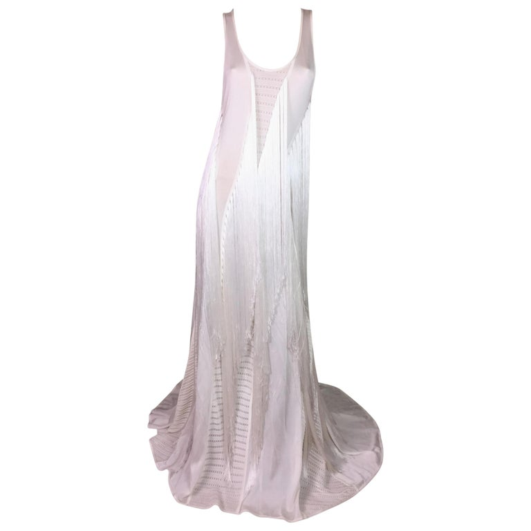 F/W 2015 Roberto Cavalli Runway Sheer Ivory Cut-Out Fringe Gown Maxi Dress