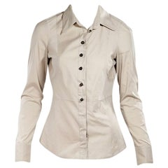 Tan Gucci Pinstriped Fitted Blouse
