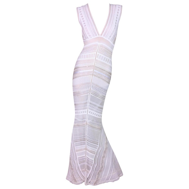 Gianfranco Ferre Sheer Ivory Knit Embellished Bridal Mermaid Gown Dress S/S 1998 For Sale