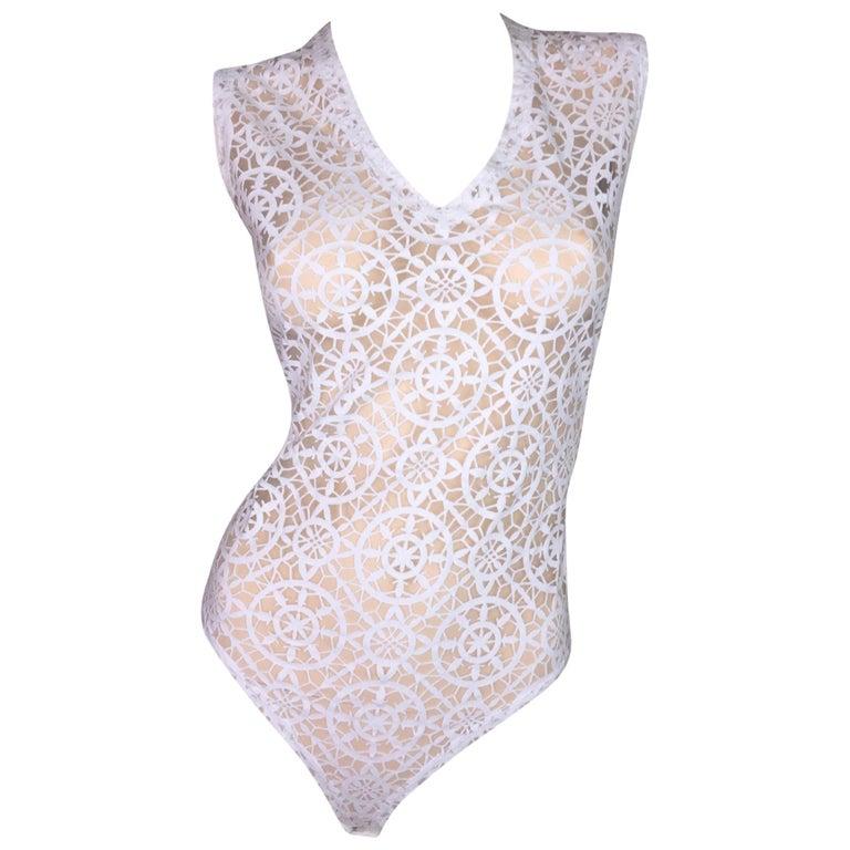 S/S 1994 Gianni Versace Runway Sheer White Bodysuit Top